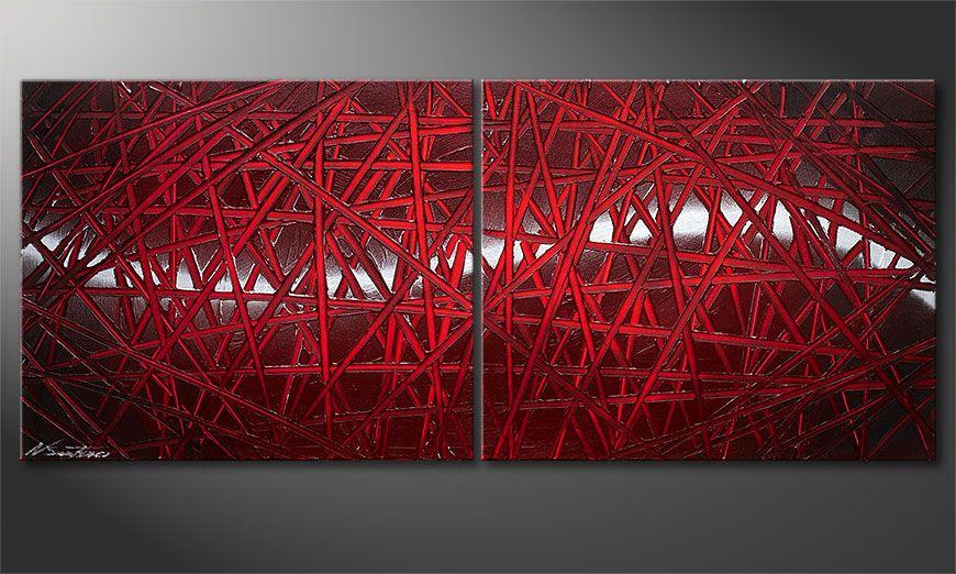 Cuadro moderno Red Push 120x50x2cm
