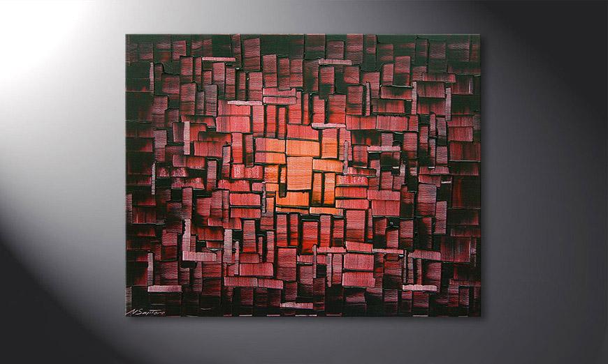 El cuadro Cubes of Glow de 100x80x2cm