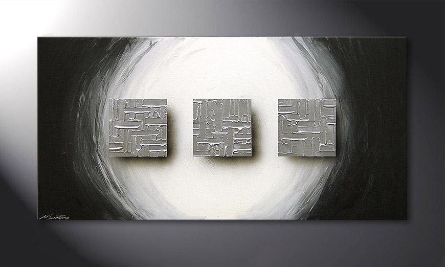 El cuadro Cubes of Silver 120x60x2cm