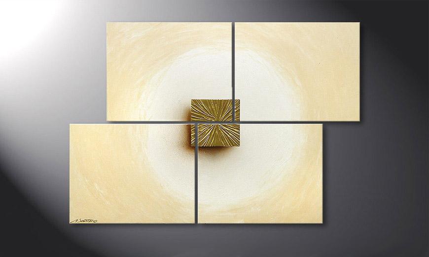 El cuadro Golden Cube 115x80x2cm