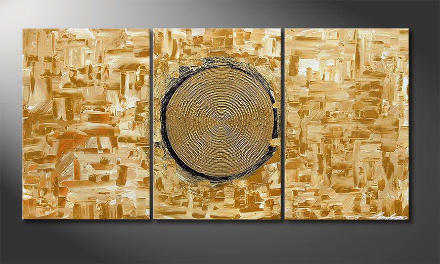 El cuadro Golden Sun 120x60x2cm