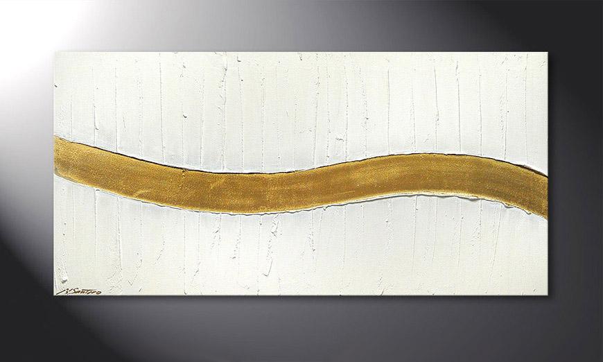 El cuadro Golden Wave 120x60x2cm