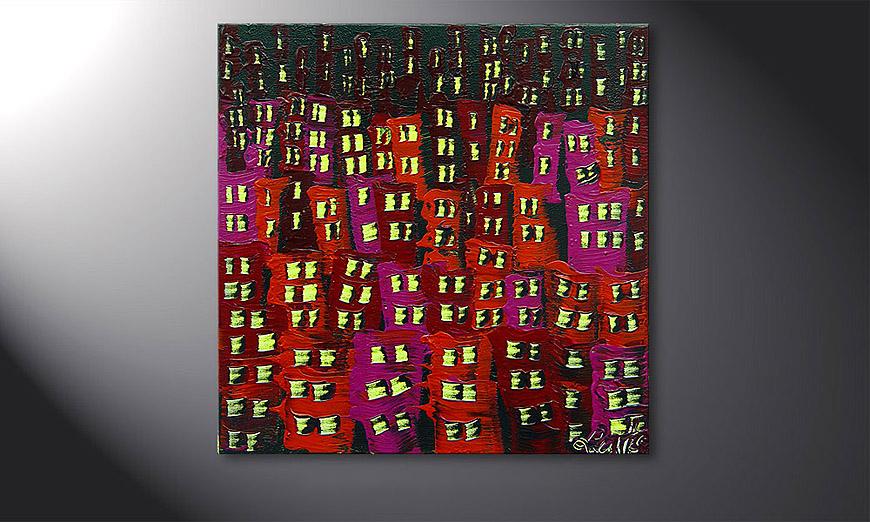 El cuadro Red City 50x50x2cm