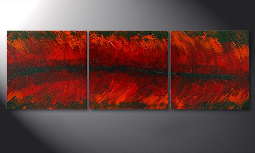 El cuadro Riven Red 180x60x2cm
