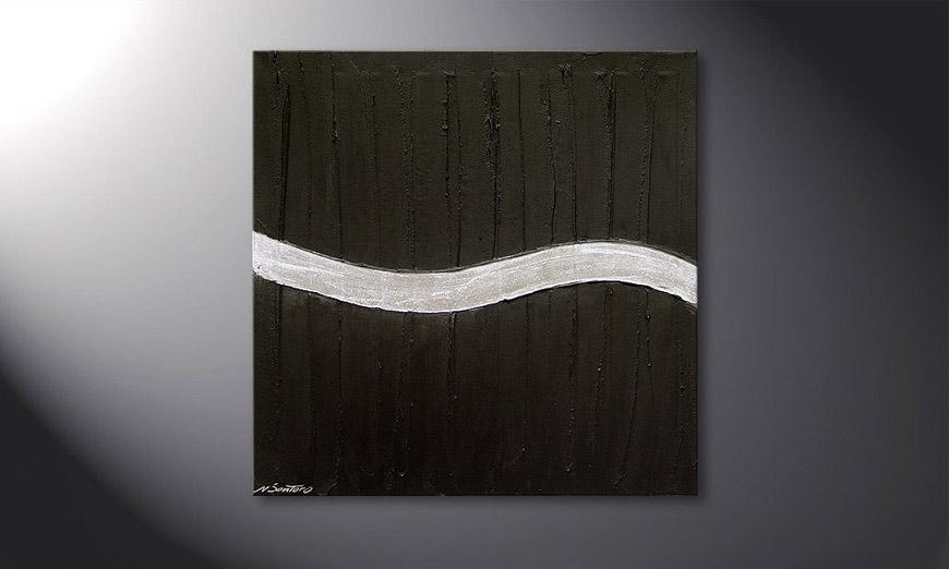 El cuadro Silver Wave de 80x80x2cm