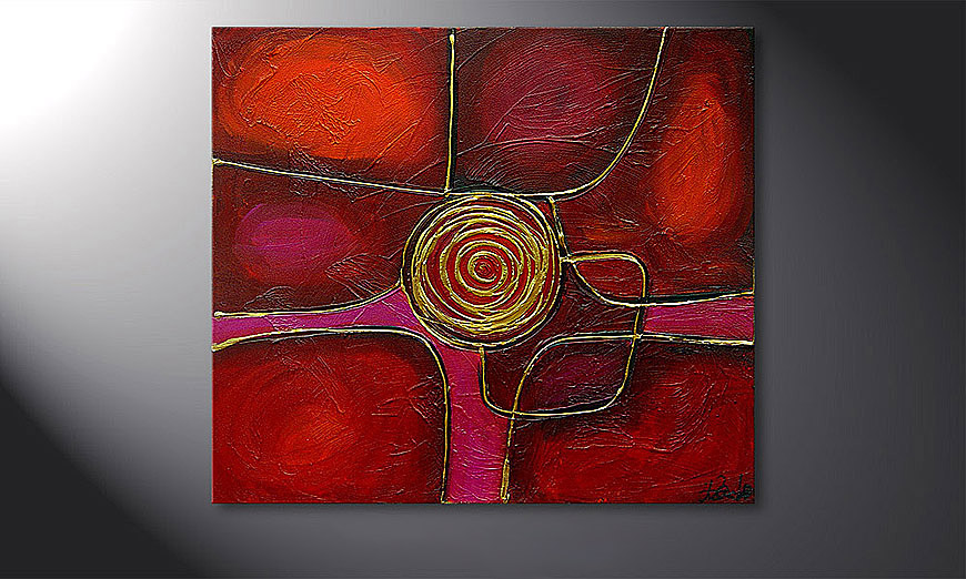 El cuadro Spinning Gold 80x70x2cm