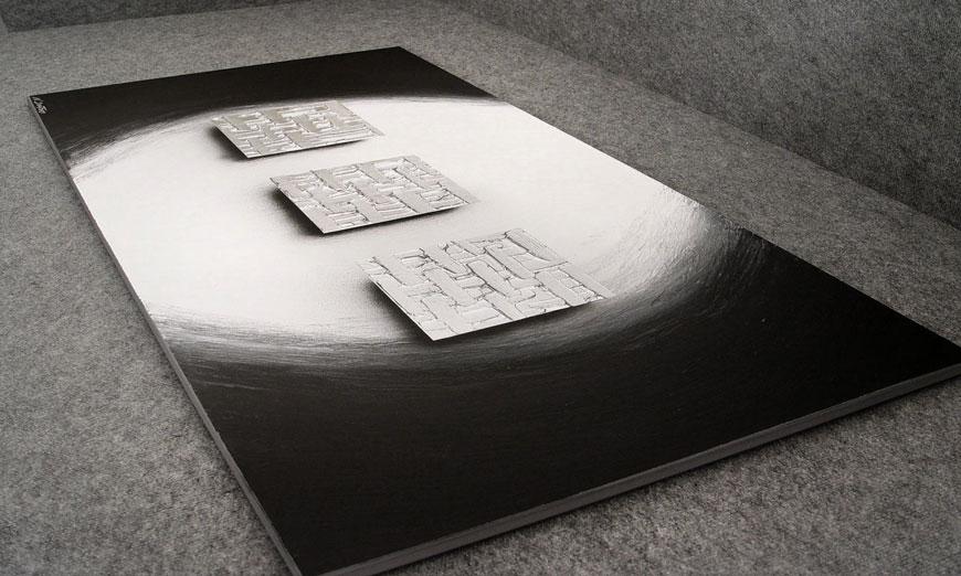 El cuadro XXL Cubes of Silver 140x70x2cm
