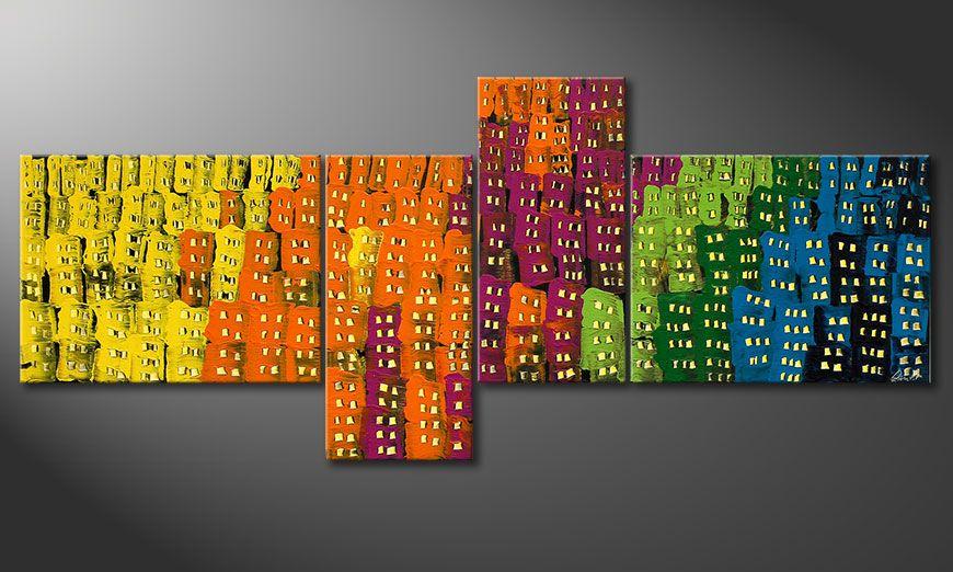 El cuadro de gran formato Crazy Town 240x100x2cm
