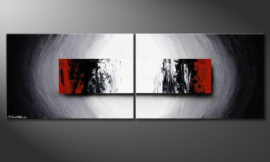 El cuadro en acrílico pintado a mano Deep Space 120x40x2cm