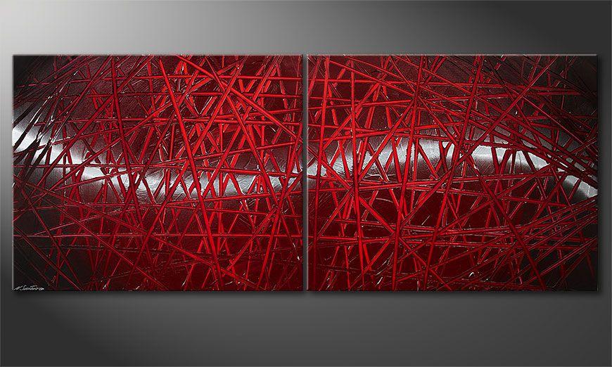 El cuadro moderno Red Push 200x80x2cm