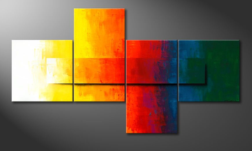 El cuadro moderno XXL Rainbow Colors 220x120x2cm