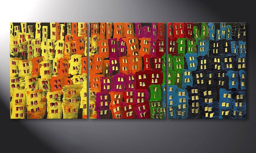 El cuadro para la sala Afterglowing City de 120x50x2cm