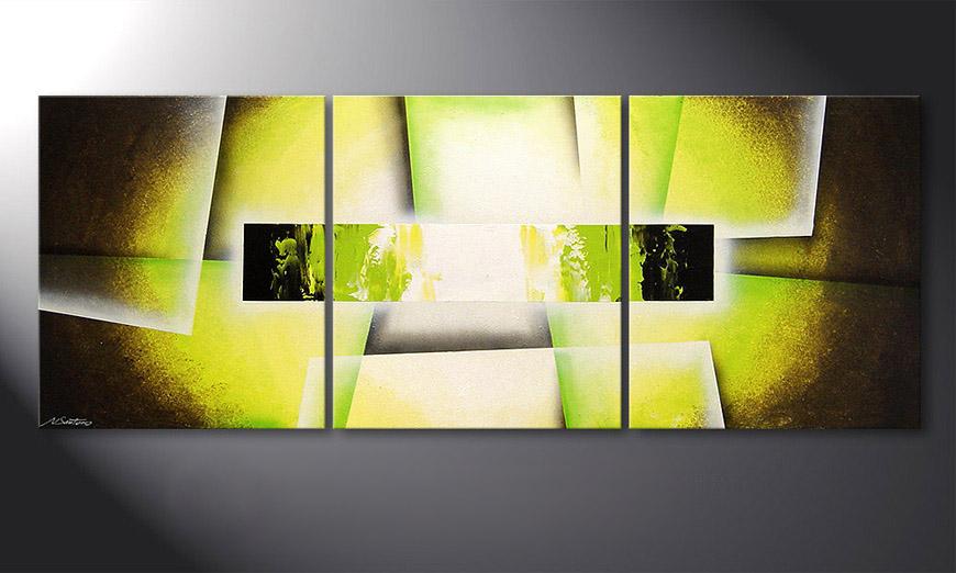 El cuadro para la sala Broken Green 180x70x2cm