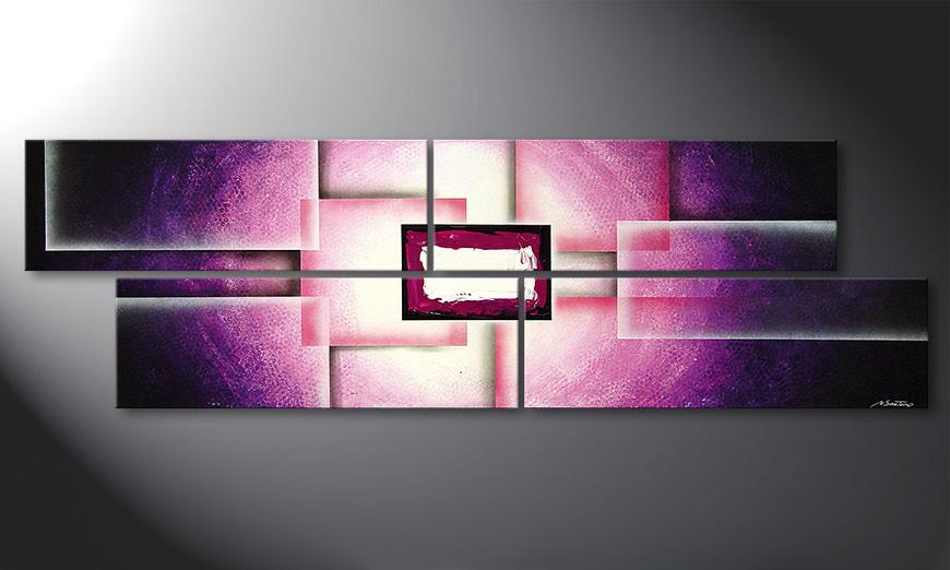 El cuadro para la sala Purple Sun 200x60x2cm