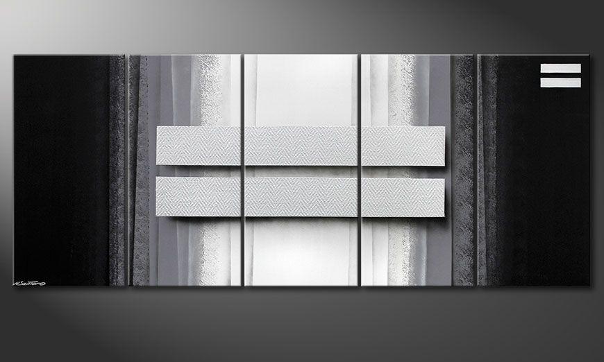 El cuadro para la sala Silver Rain 200x80x2cm