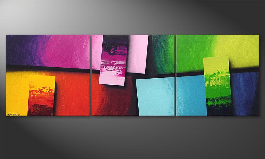 El cuadro para la sala Squaring of Colors 210x70x2cm