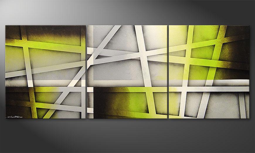 El cuadro para la sala Vivid Green 180x70x2cm