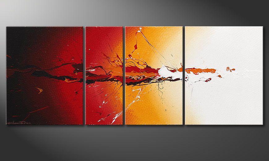 El cuadro pintado a mano Fiery Splash 130x50x2cm