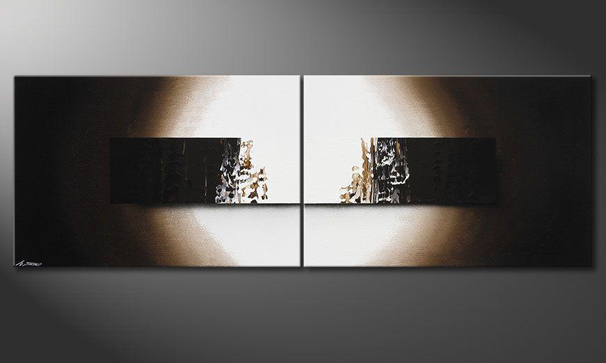 El cuadro pintado a mano Light Rain 240x80x2cm