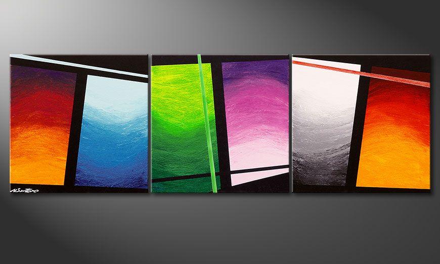 El cuadro pintado a mano Wave of Colors 150x50x2cm