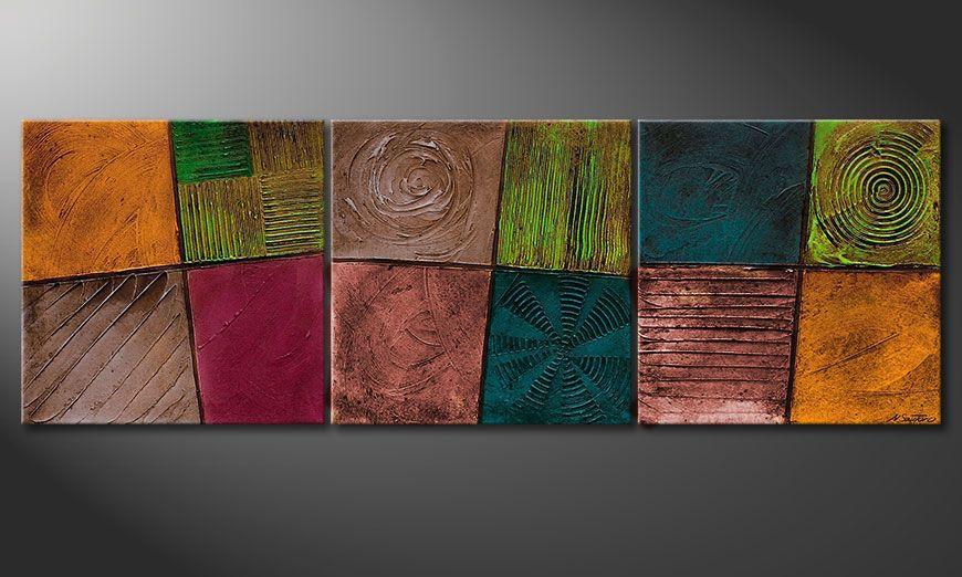 El cuadro sobre bastidor Facets of Life 150x50x2cm