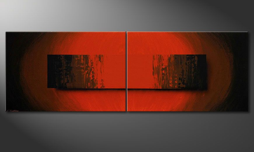 El gran cuadro moderno Glowing Red 240x80x2cm