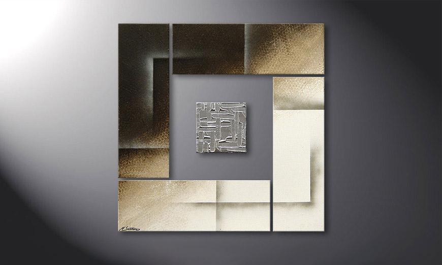 Nuestro cuadro Silver Cube de 80x80x2cm