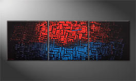 Arte moderno 'Heated Blue' 210x70cm