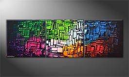 La pintura  exclusiva 'Cubic Colors' 210x70cm