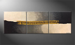 Nuestro cuadro 'Golden Connection' 210x70cm