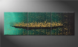 Pintura de lienzo 'Golden Secret' 180x60cm