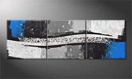 Pintura de lienzo 'Light Wave' 240x80cm