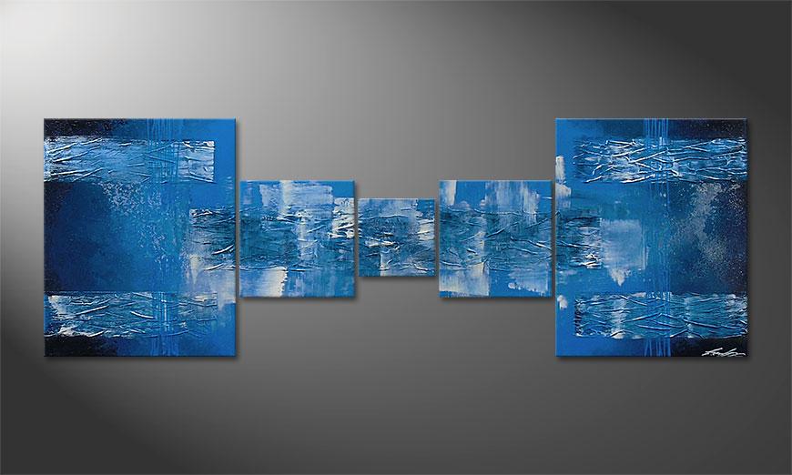El cuadro Blue 'Waves 180x60x2cm