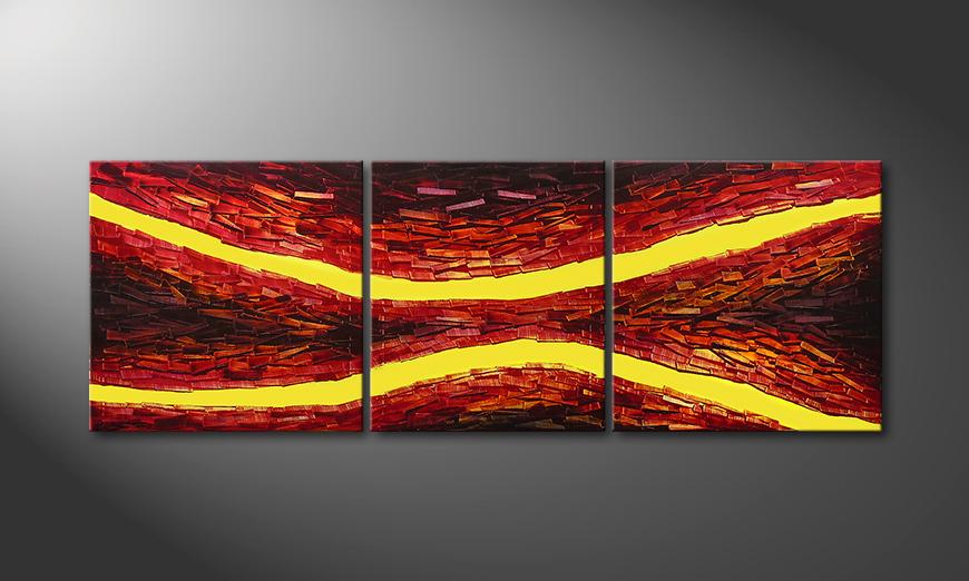 El cuadro Lava Splits de 200x70x2cm