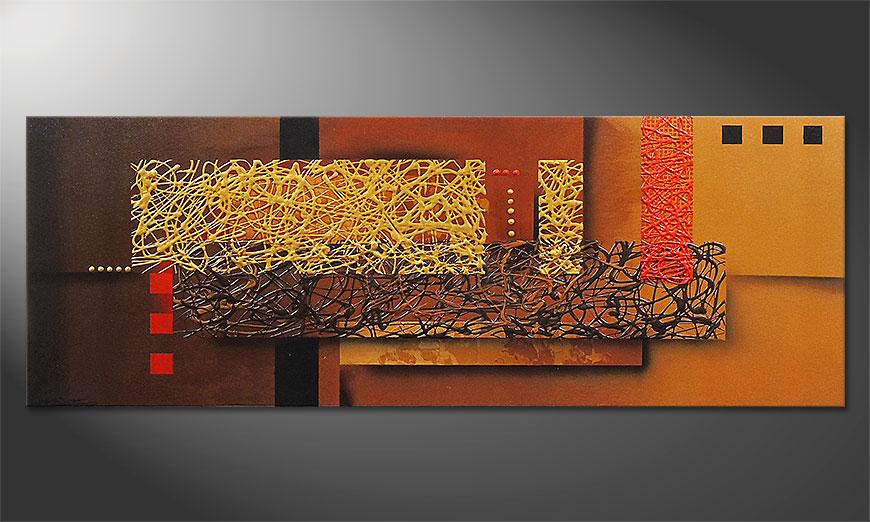 El cuadro Liquid Gold in 150x55x2cm