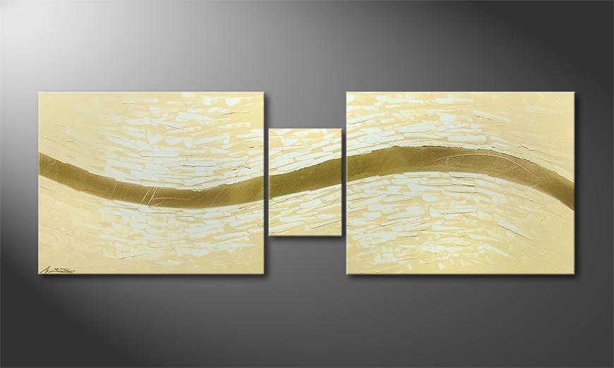 El cuadro moderno Golden Stream 140x50x2cm