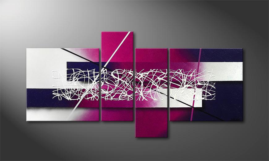 El cuadro moderno Purple Lights 130x65x2cm
