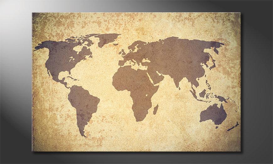 El cuadro Worldmap Vintage