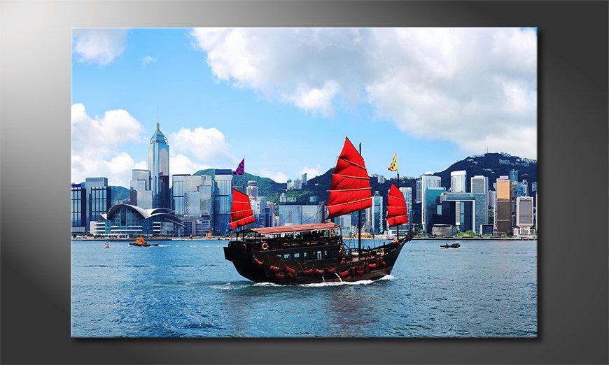 El cuadro impreso Hongkong Boat