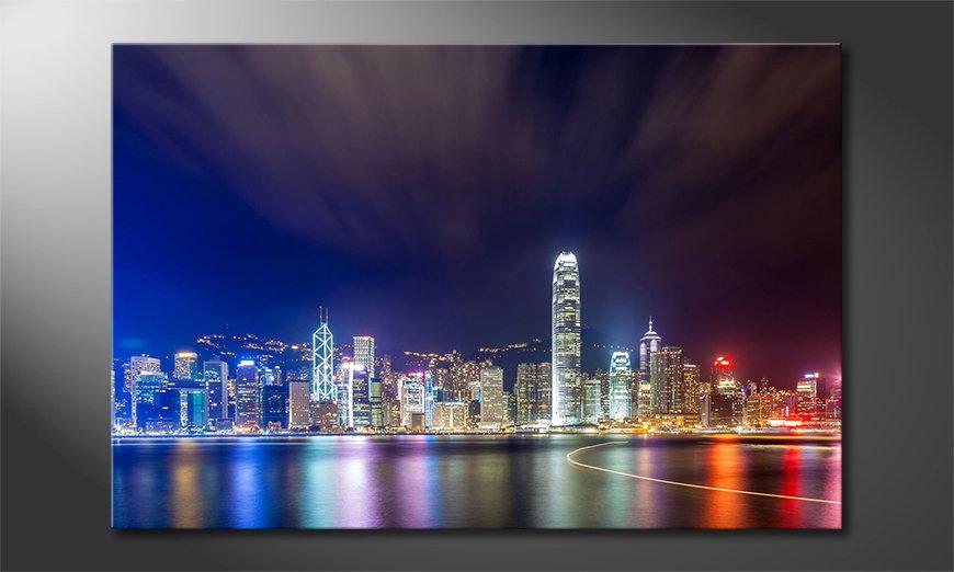 El cuadro impreso Hongkong at Night
