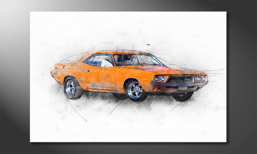 El cuadro moderno Orange Muscle Car