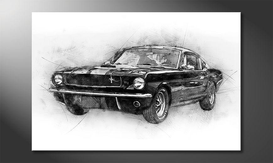 Impresión de la lona Black Mustang