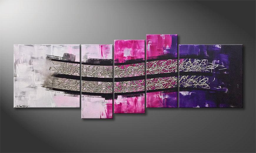 Arte moderno Waves Of Silver 210x80x2cm