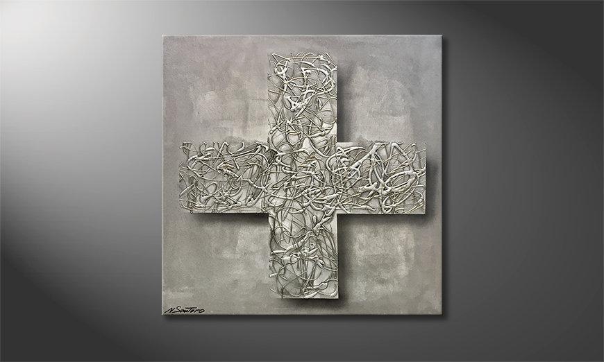 El cuadro Silver Cross 80x80x2cm