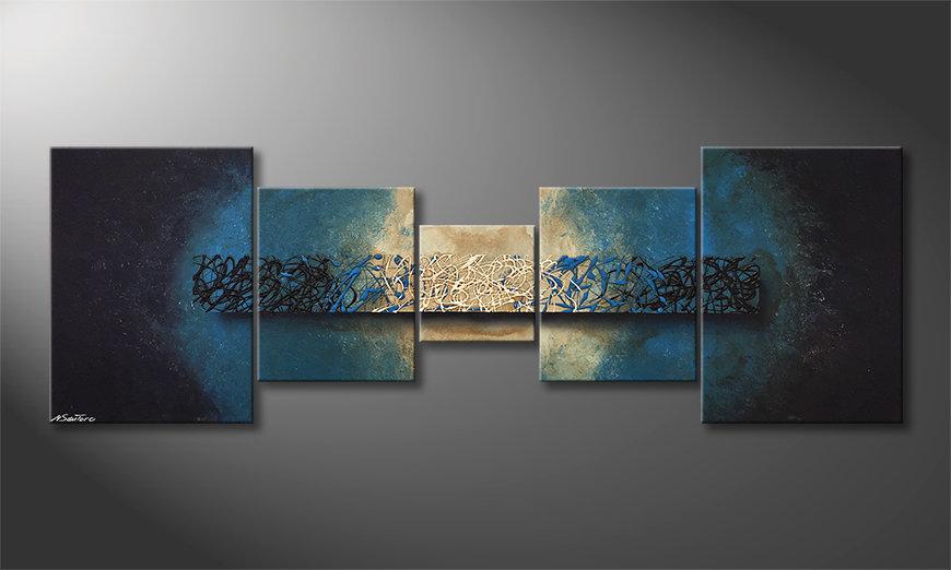 El cuadro moderno Deep Blue Light 210x70x2cm
