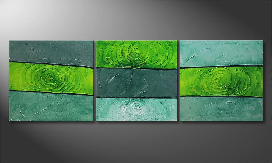 El cuadro moderno Green Roses 225x75x2cm