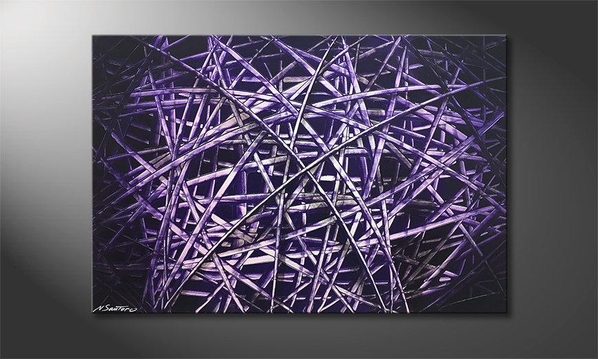 La bonita pintura Purple Lines 120x80x2cm