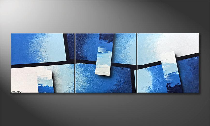Pintura de lienzo Blue Stacks 210x70x2cm